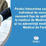 Pentru întocmirea contractului de muncă este necesară fișa de aptitudine de la Medicina Muncii